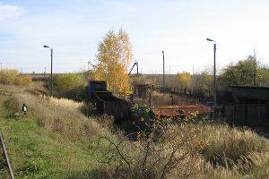 Zgromadzone wagony towarowe w Karczmirskach - dawny zasiek węglowy.
