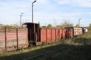 Zgromadzone wagony towarowe w Karczmirskach - węglarka Wddxh.