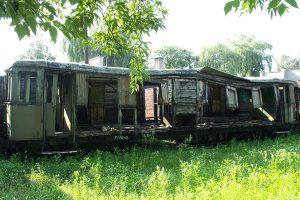 Mocno zniszczony wagon MBxd1.