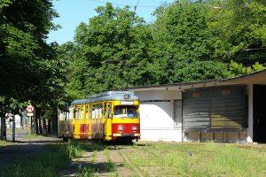 Krańcówka przy ulicy Północnej. Pierwszy pojawił się GT6 #47 Tramwajów Podmiejskich.