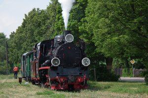 Parowóz Px48-1919 z pociągiem historycznym w Powidzu.