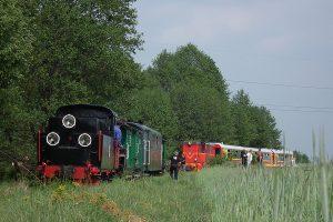 Oba pociągi podczas postoju w Ługach.